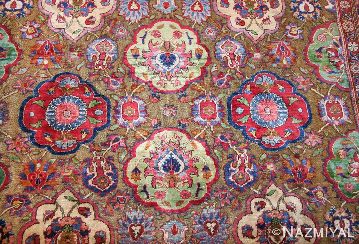 Fine Antique Silk and Metalic Thread Persian Souf Kashan Rug 49205 Medallion Circle Nazmiyal