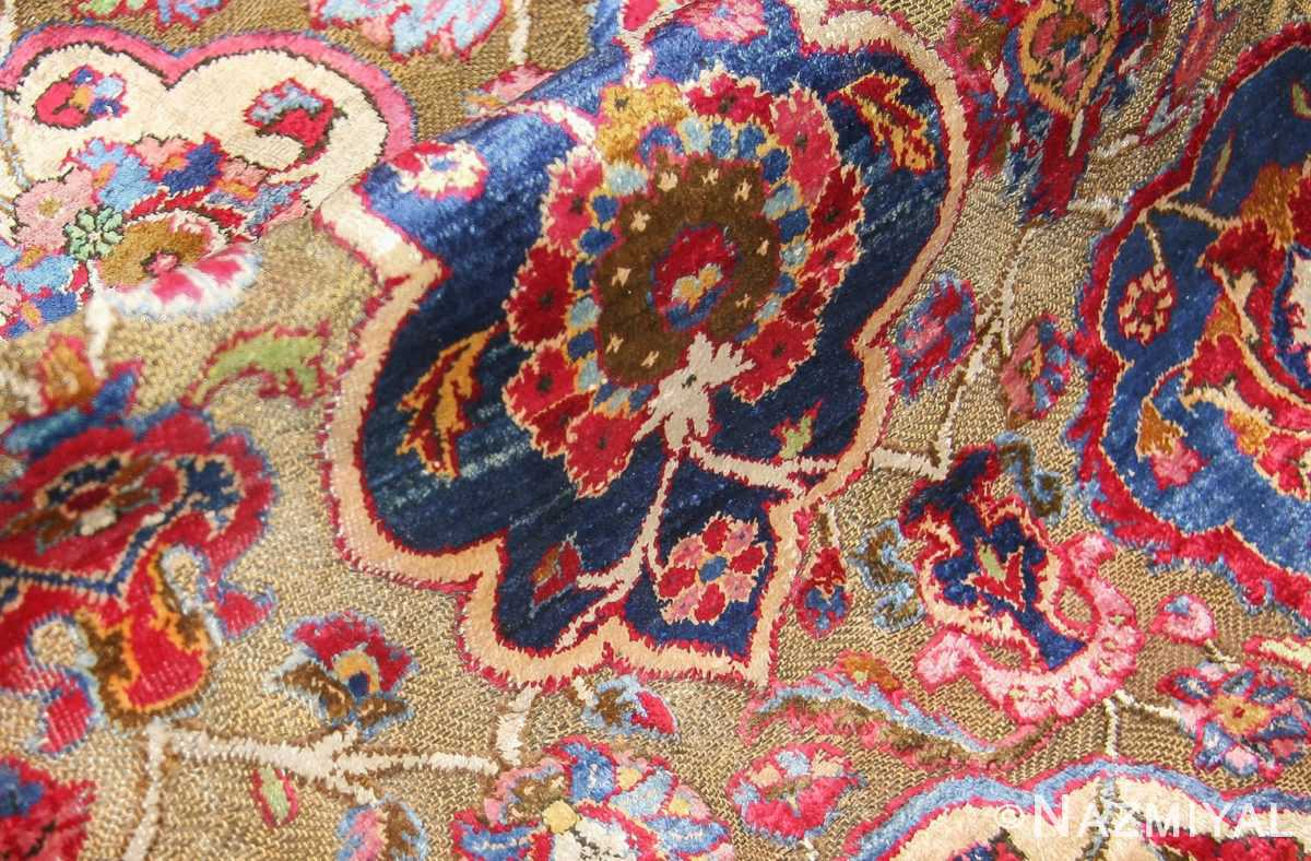 Fine Antique Silk and Metalic Thread Persian Souf Kashan Rug 49205 Pile Closeup Nazmiyal