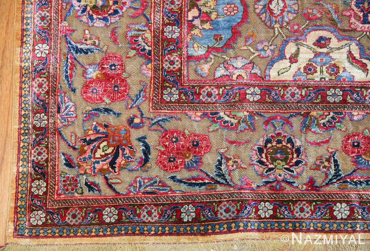 Fine Antique Silk and Metalic Thread Persian Souf Kashan Rug 49205 Side Corner Nazmiyal