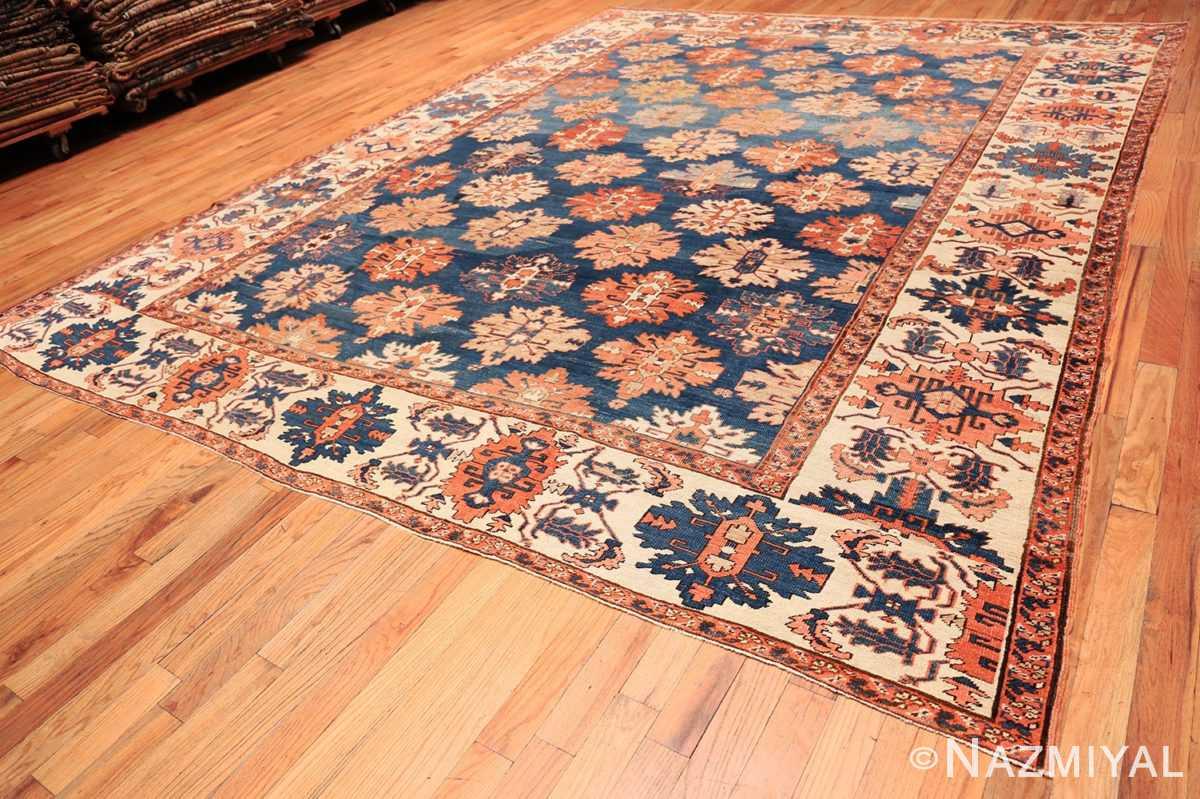 Full Tribal Antique Blue Background Persian Bakshaish rug 49202 by Nazmiyal
