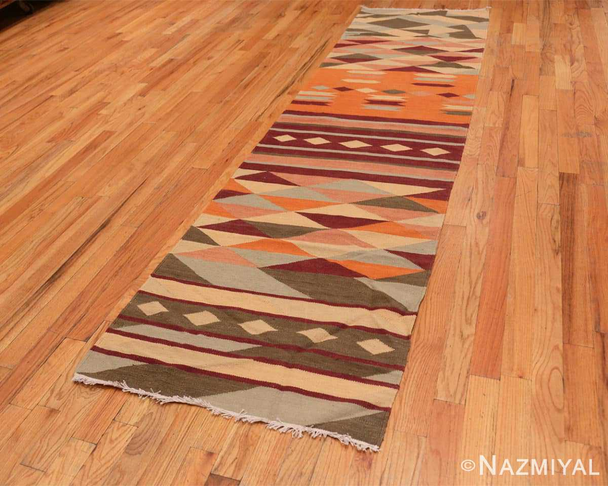 Full Vintage Swedish inspired Modern Indian Kilim runner 48476 by Nazmiyal