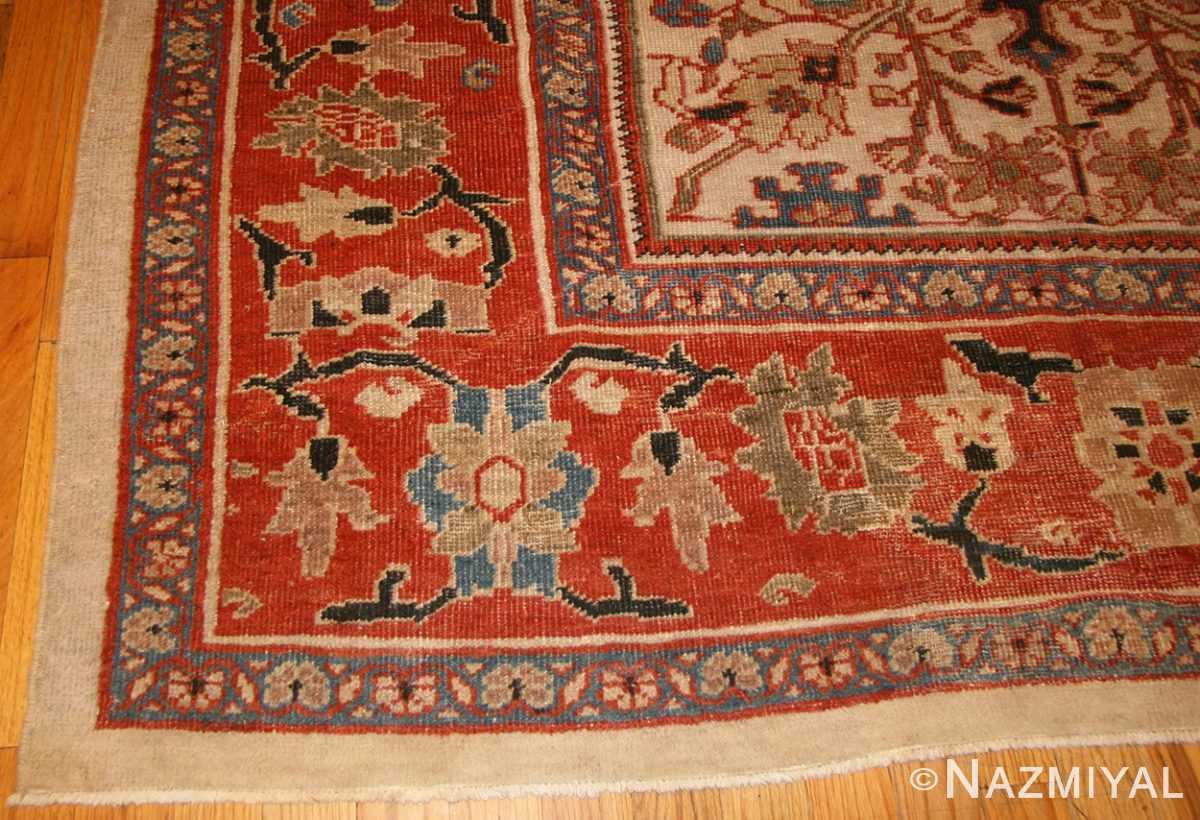 ivory antique persian sultanabad rug 49138 corner Nazmiyal