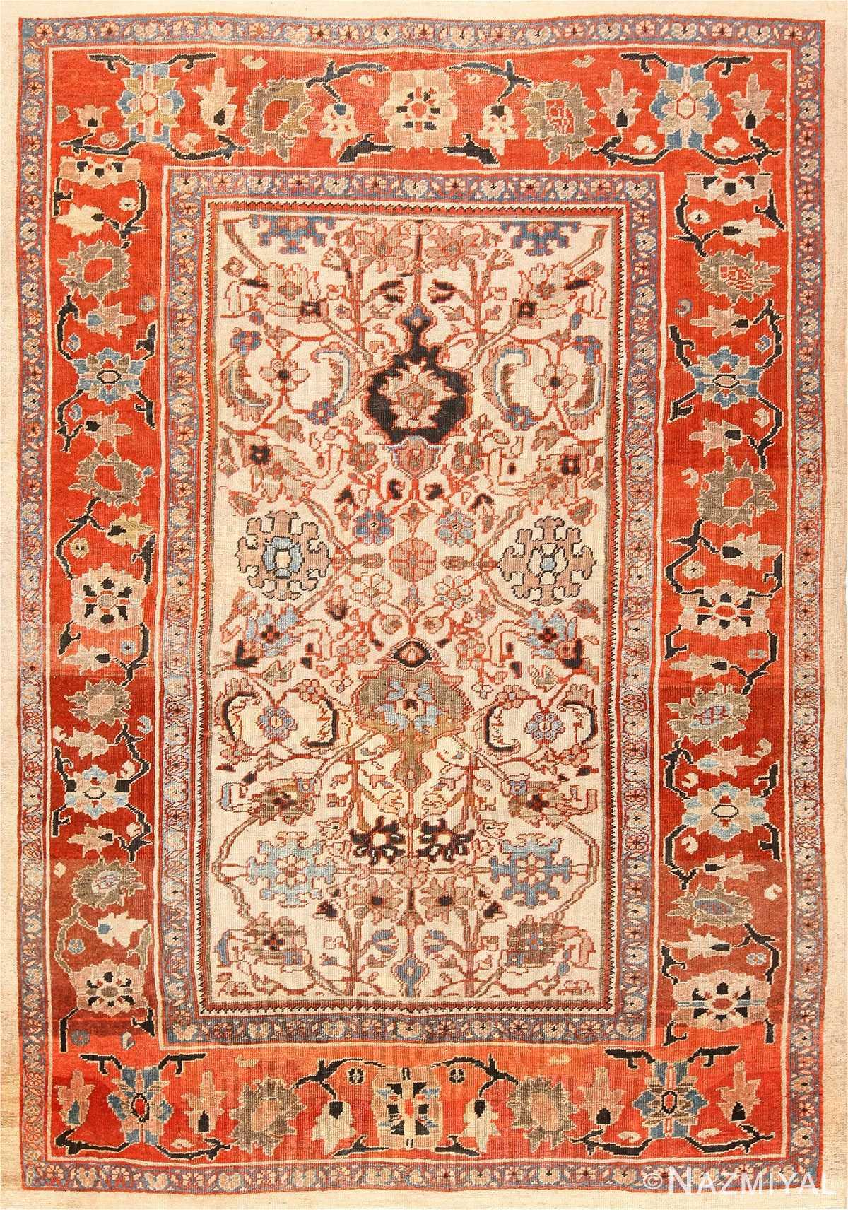 Ivory Antique Persian Sultanabad Rug 49138 Nazmiyal