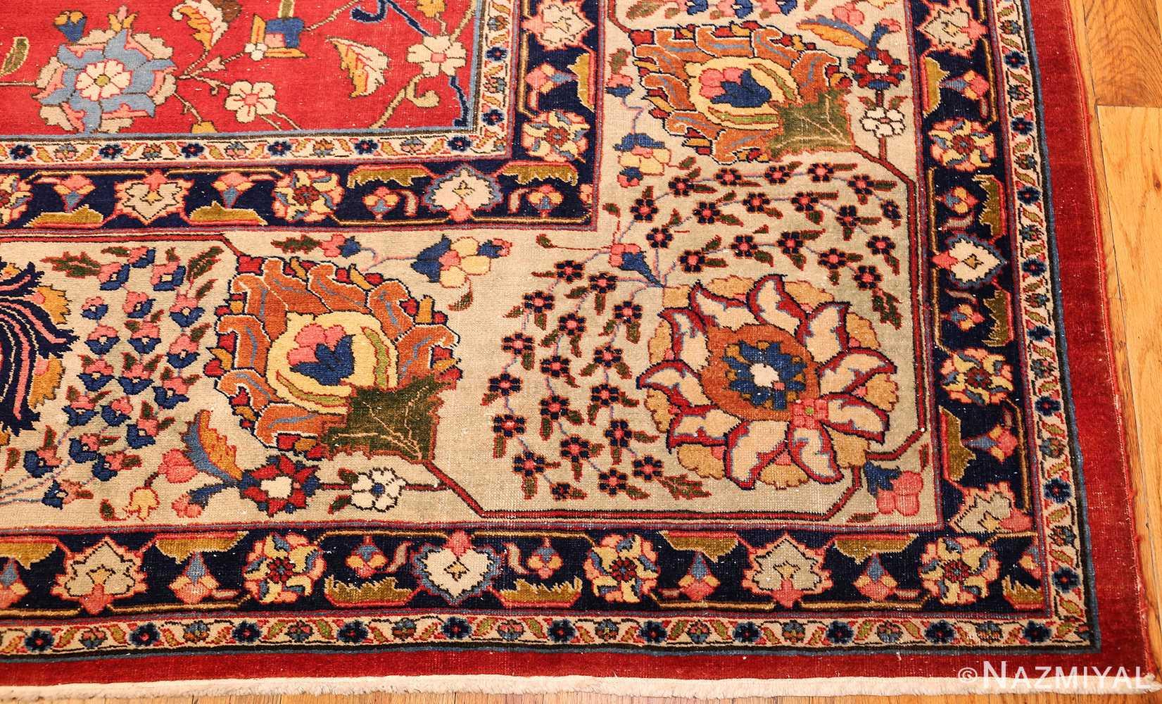 large antique vase design persian tabriz rug 49196 corner Nazmiyal