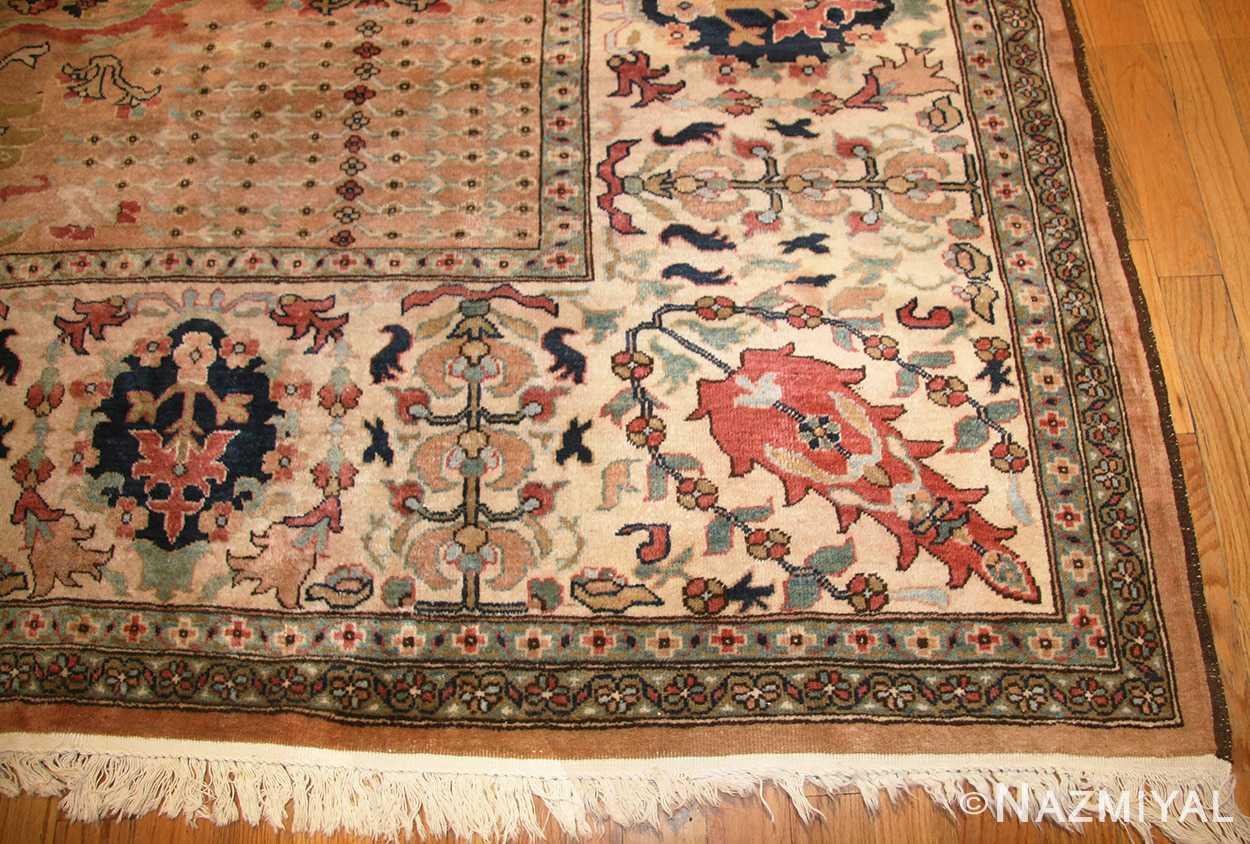 large room size vintage indian agra rug 49186 corner Nazmiyal