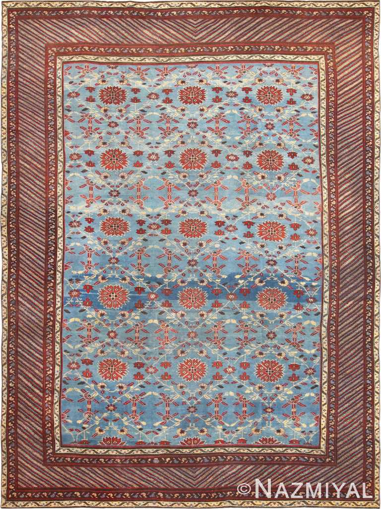 Light Blue Room Size Antique Indian Agra Rug 48823 Nazmiyal