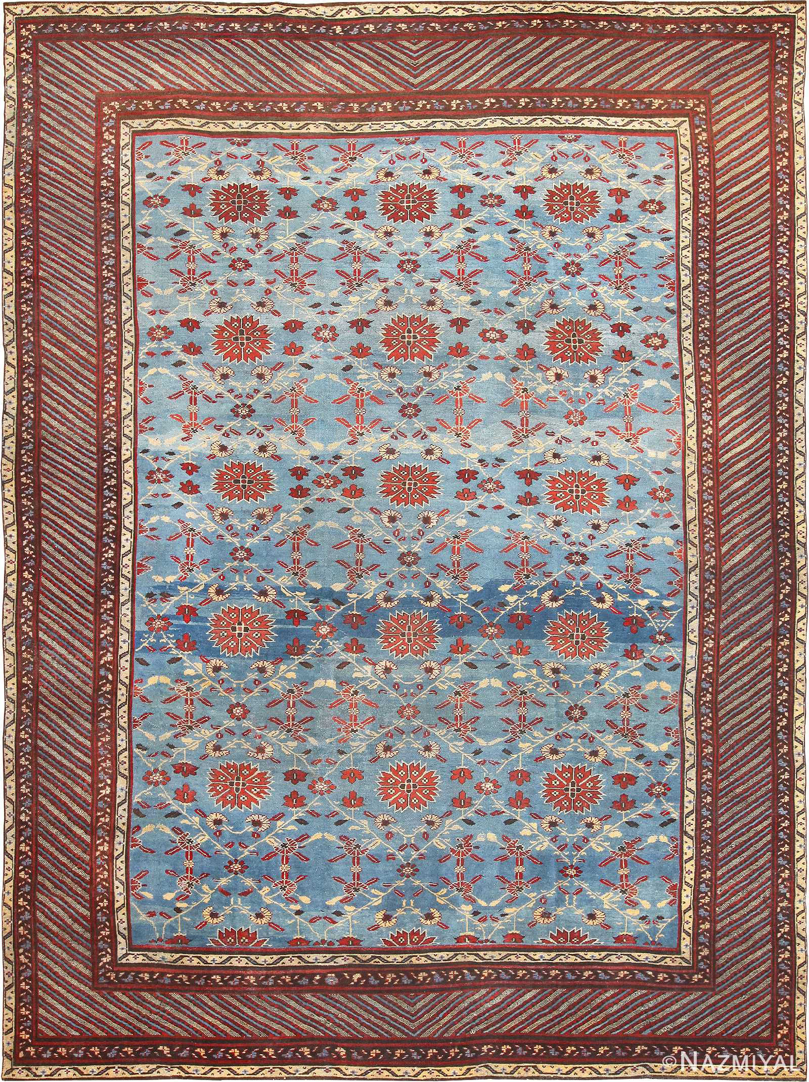 Light Blue Room Size Antique Indian Agra Rug 48823
