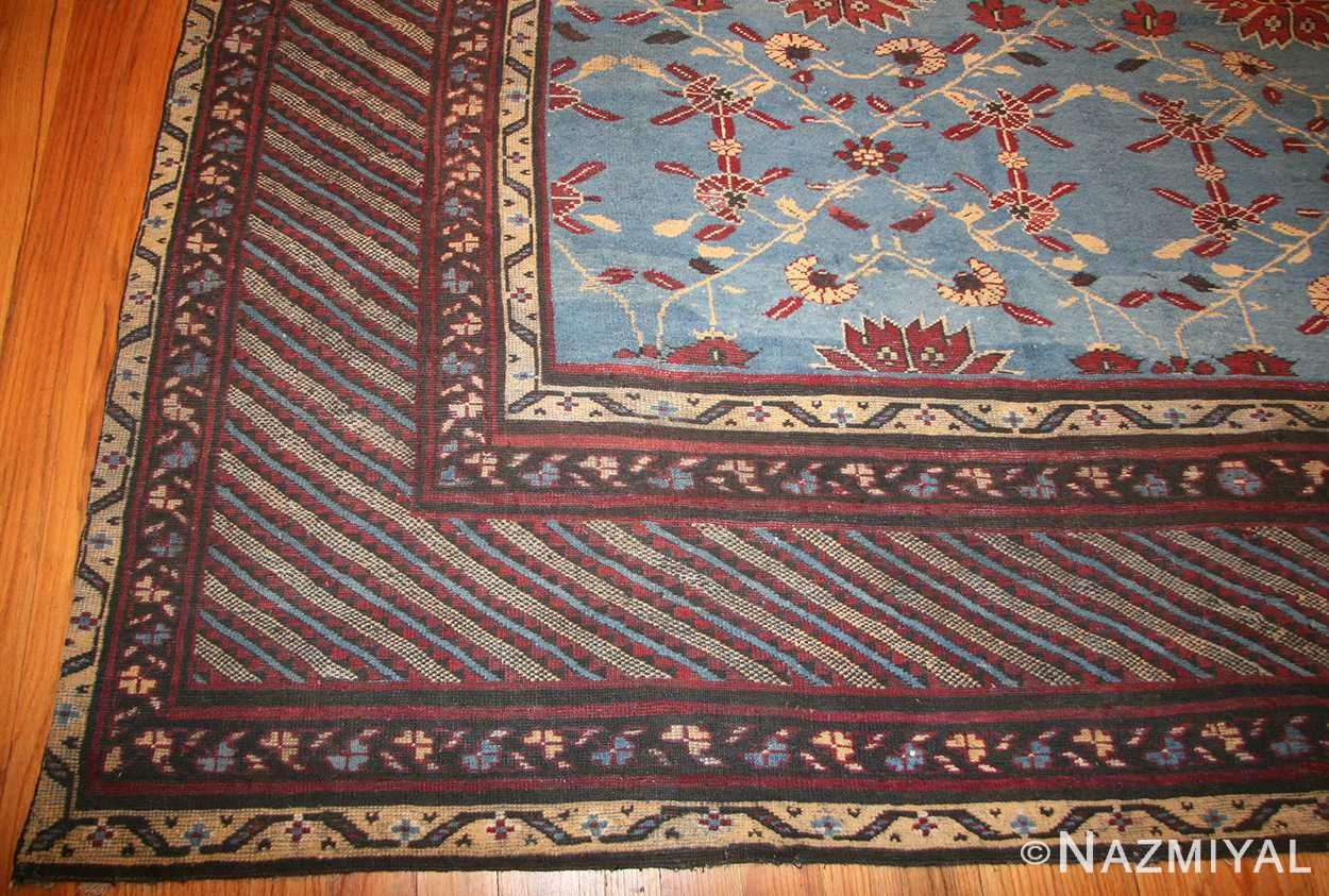 light blue room size antique indian rug 48823 corner Nazmiyal