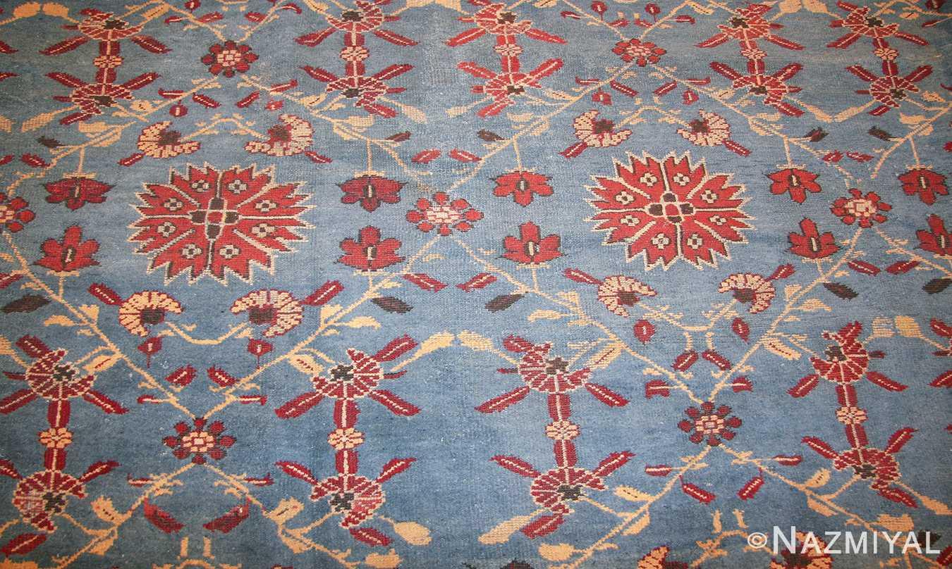 light blue room size antique indian rug 48823 field Nazmiyal