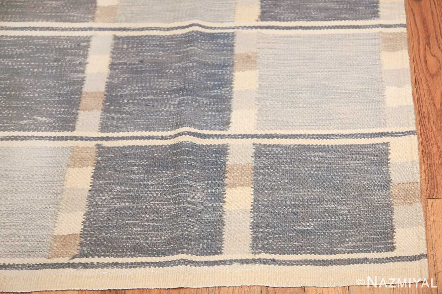 modern contemporary Swedish inspired kilim rug 48384 corner Nazmiyal