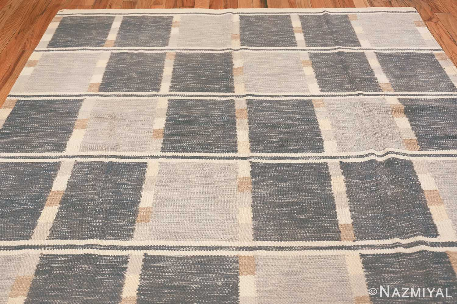 modern contemporary Swedish inspired kilim rug 48384 top Nazmiyal
