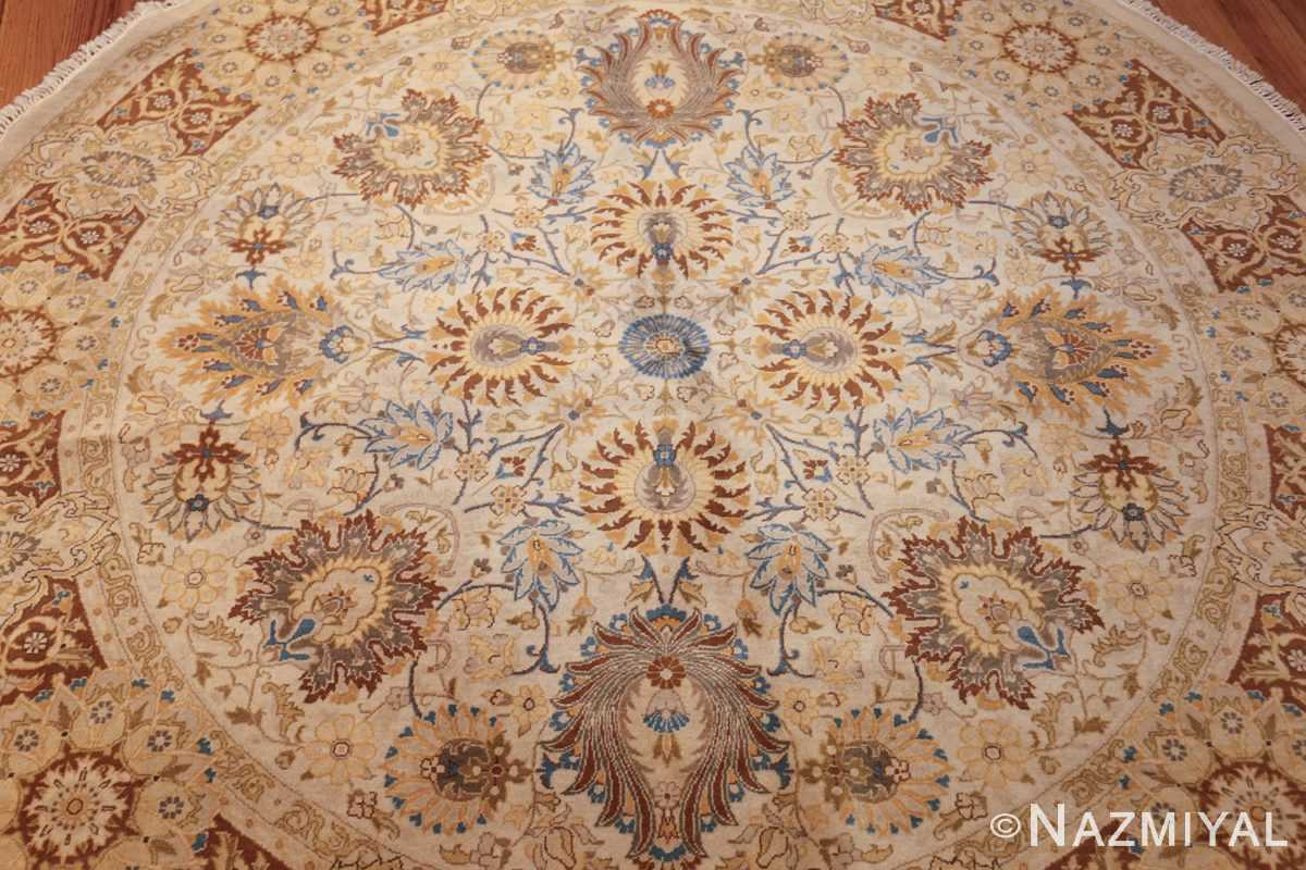 modern persian tabriz design round rug 44674 center Nazmiyal