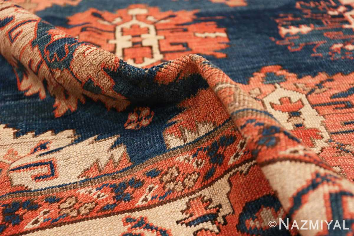 Pile Tribal Antique Blue Background Persian Bakshaish rug 49202 by Nazmiyal