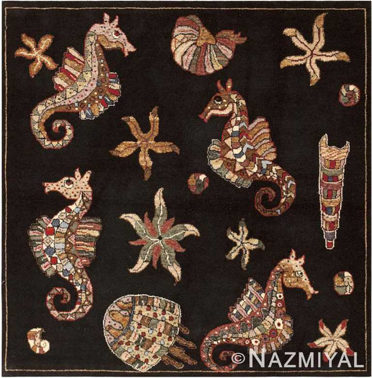 Fun Square Modern Turkish Underwater Sea Creatures Rug #46074 by Nazmiyal Antique Rugs