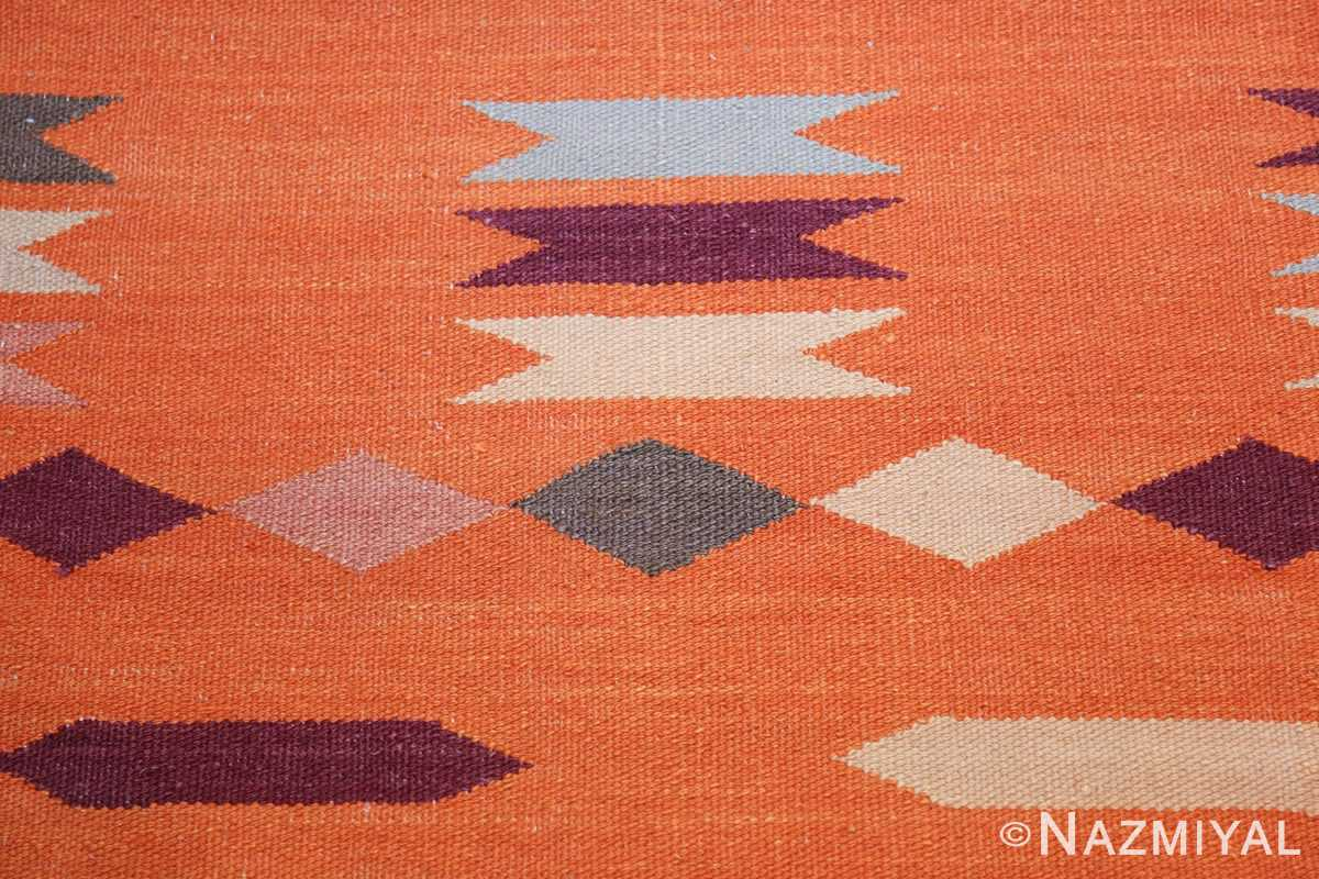 swedish scandinavian inspired modern kilim runner rug 48475 orange Nazmiyal