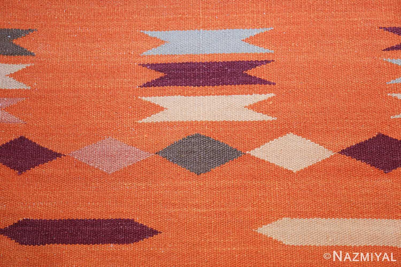 swedish scandinavian inspired modern kilim runner rug 48475 orange Nazmiyal