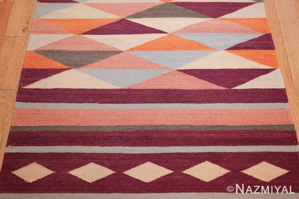 swedish scandinavian inspired modern kilim runner rug 48475 red Nazmiyal