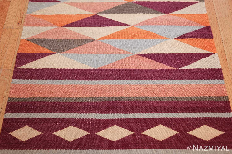 swedish scandinavian inspired modern kilim runner rug 48475 red Nazmiyal
