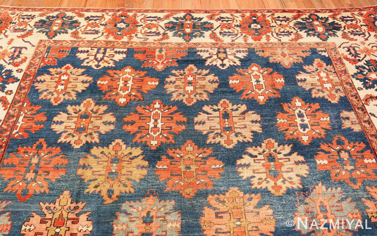 Top Tribal Antique Blue Background Persian Bakshaish rug 49202 by Nazmiyal