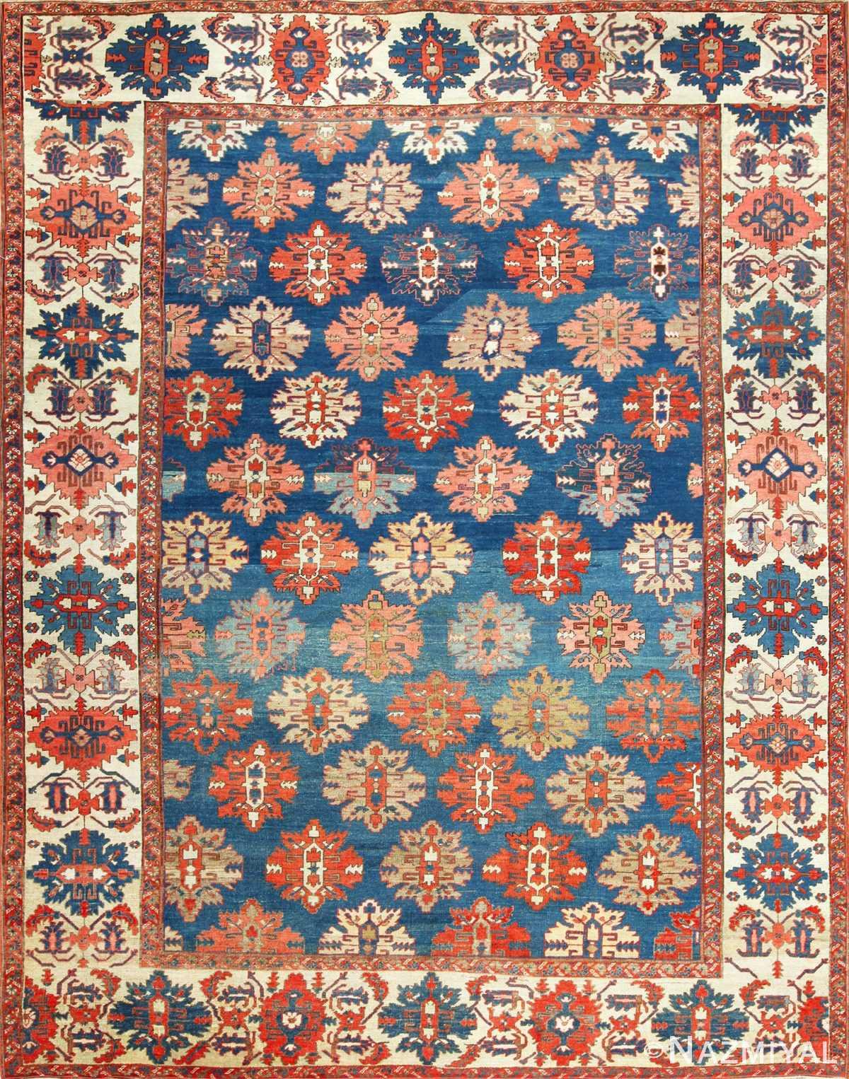 tribal antique blue background persian bakshaish rug 49202 Nazmiyal