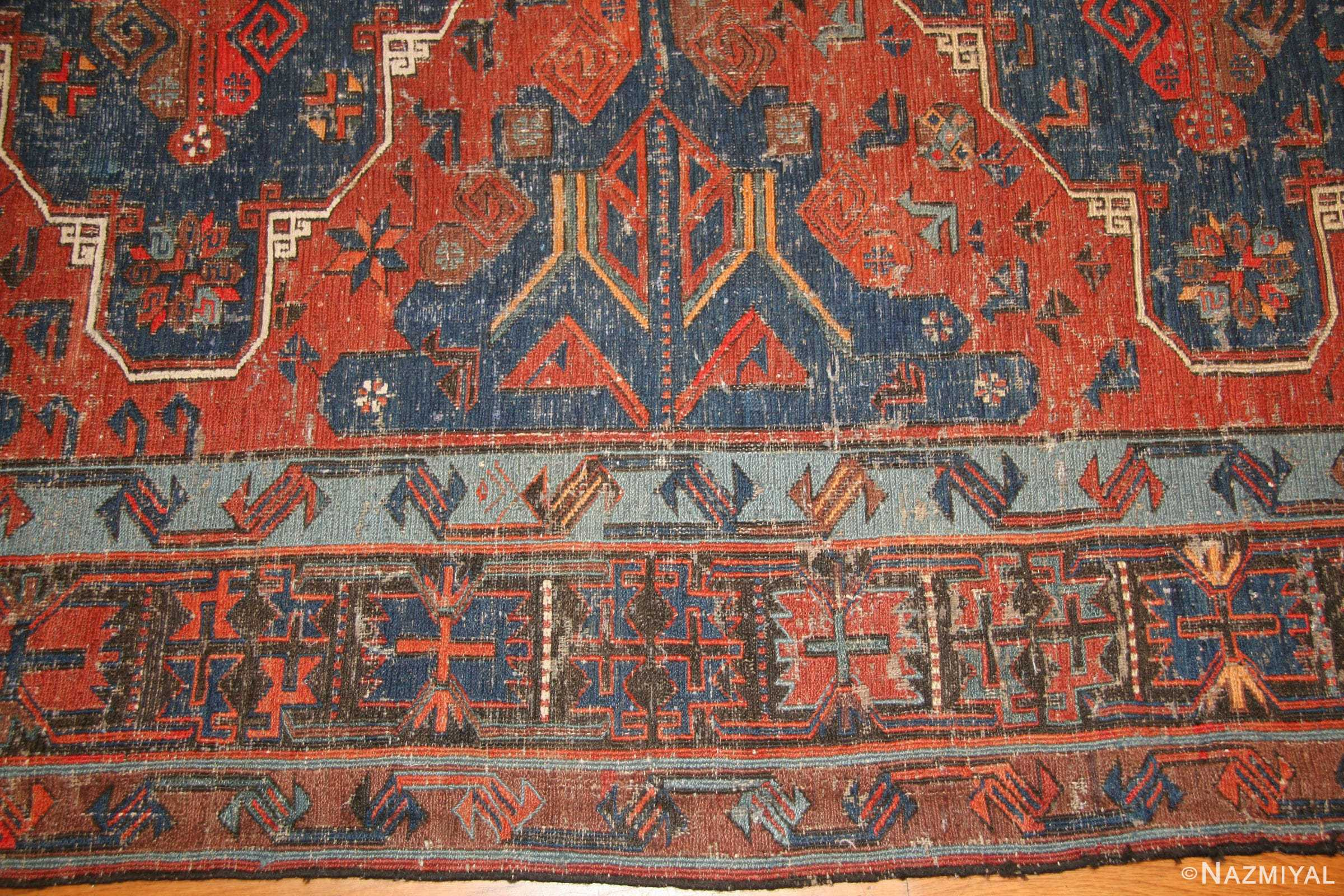 Tribal Antique Caucasian Soumak Rug 50210 Border Nazmiyal
