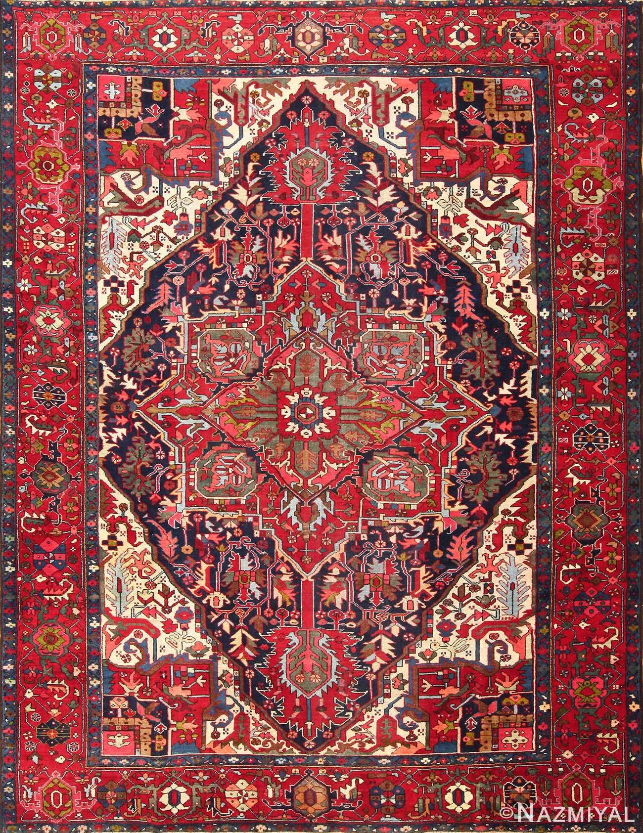 vintage persian heriz 49213 Nazmiyal