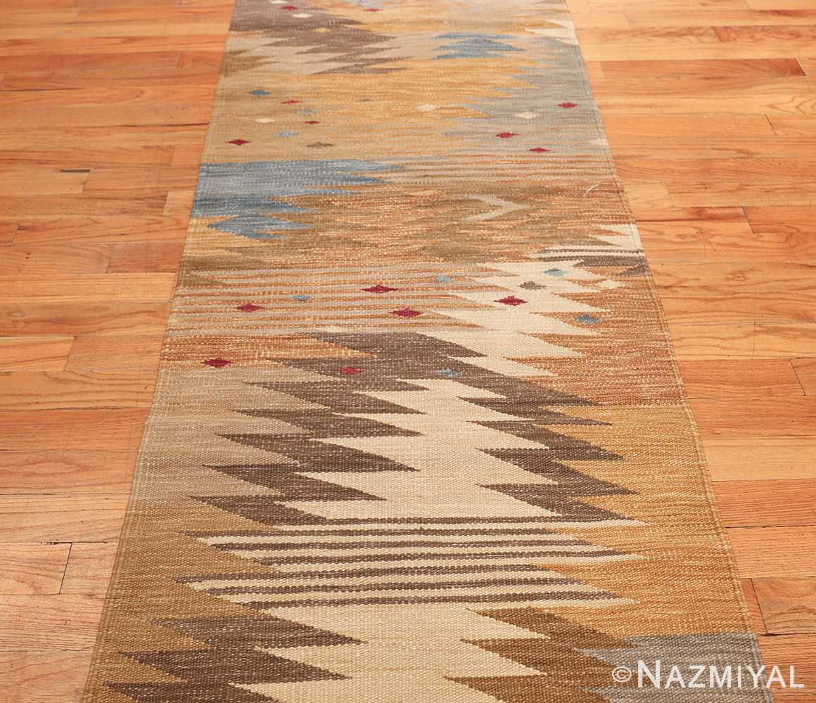 vintage swedish inspired kilim runner rug 48518 field Nazmiyal