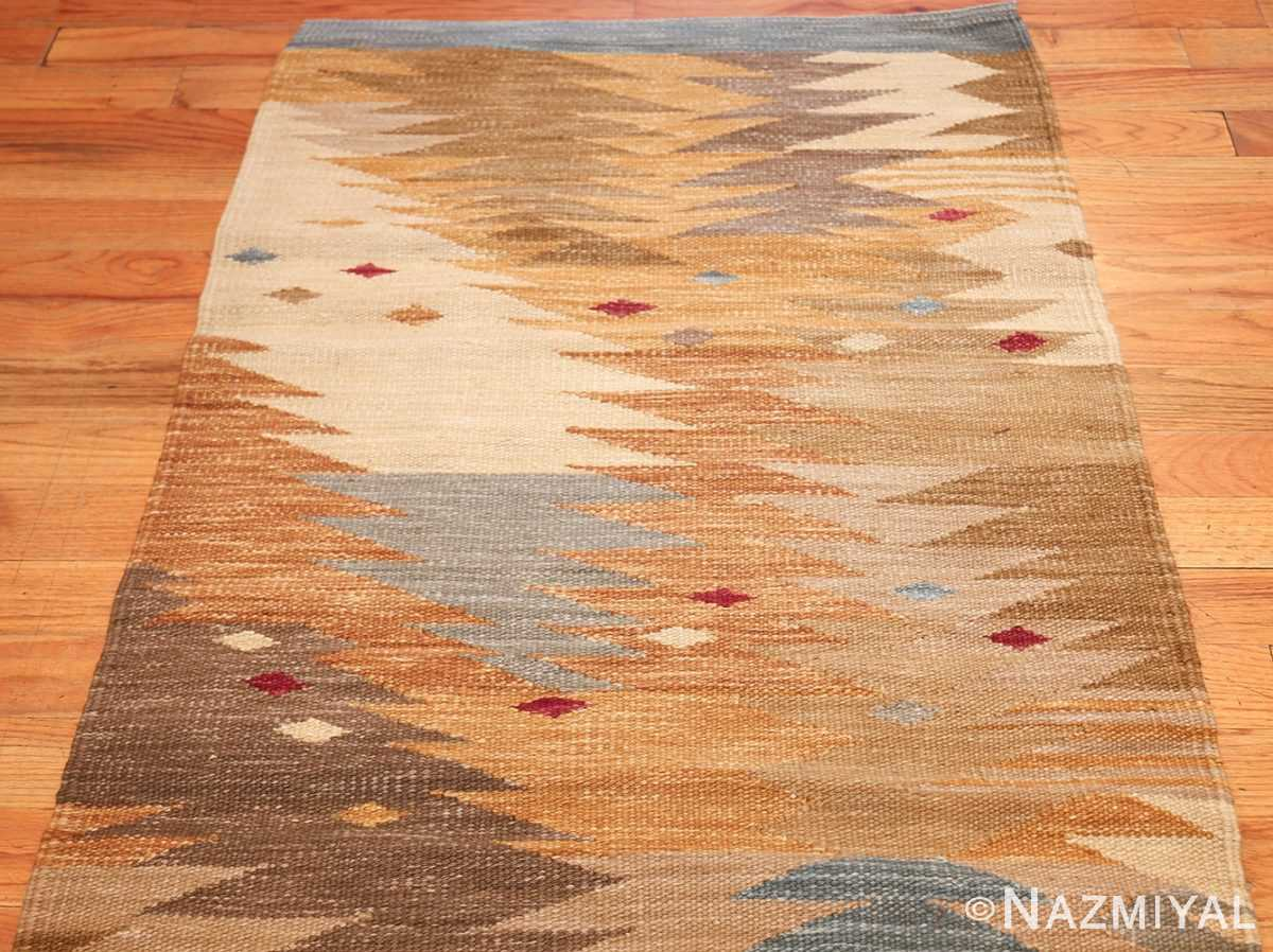 vintage swedish inspired kilim runner rug 48518 top Nazmiyal