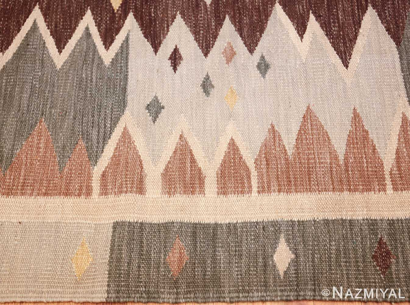 vintage swedish inspired modern kilim rug 48519 border Nazmiyal