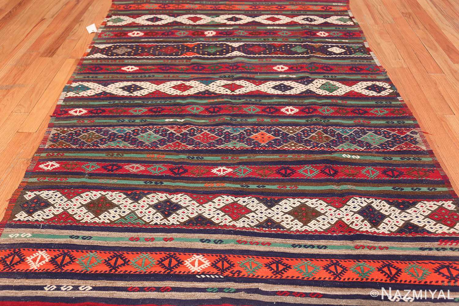 Vintage Tribal Turkish Kilim 50730 Field Pattern Nazmiyal