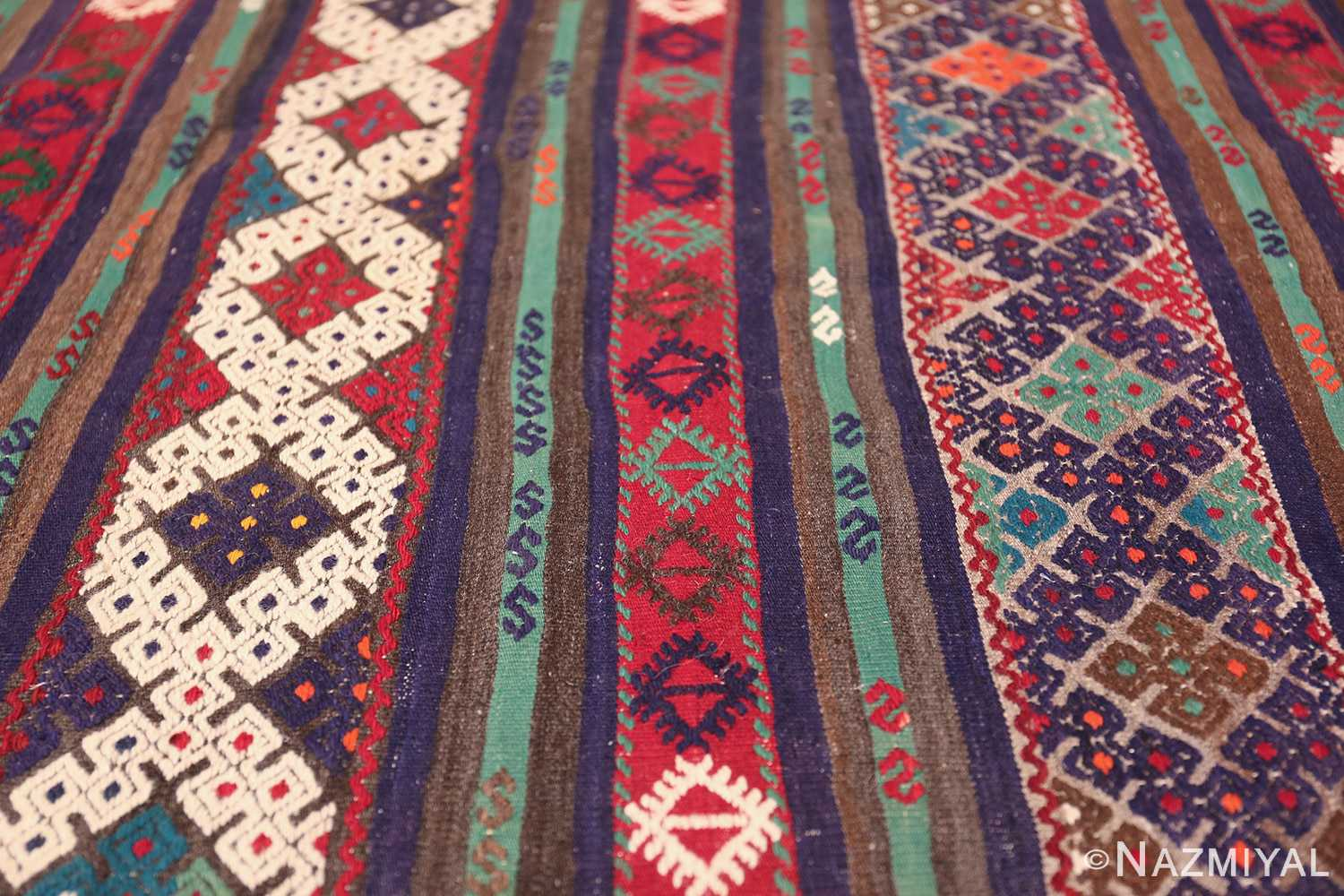 Vintage Tribal Turkish Kilim 50730 Horizontal Lines Nazmiyal