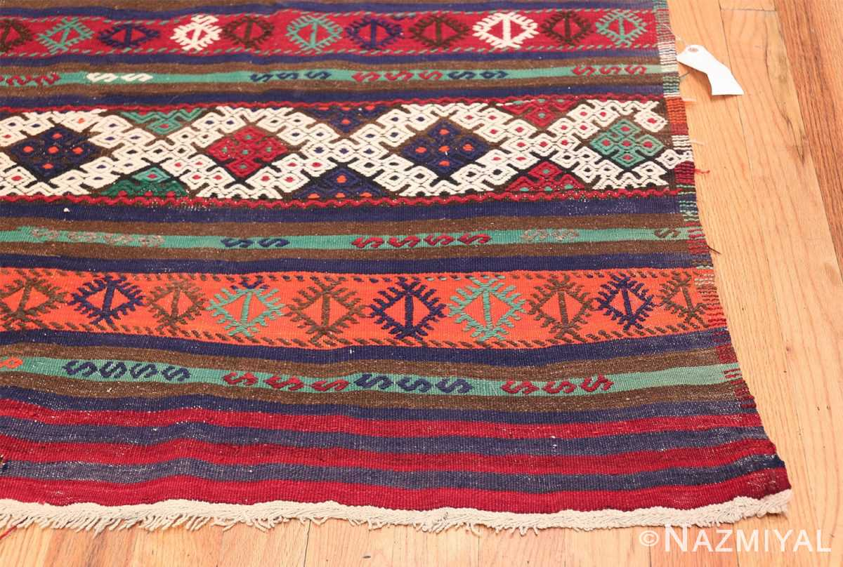 Vintage Tribal Turkish Kilim 50730 Side Corner Nazmiyal