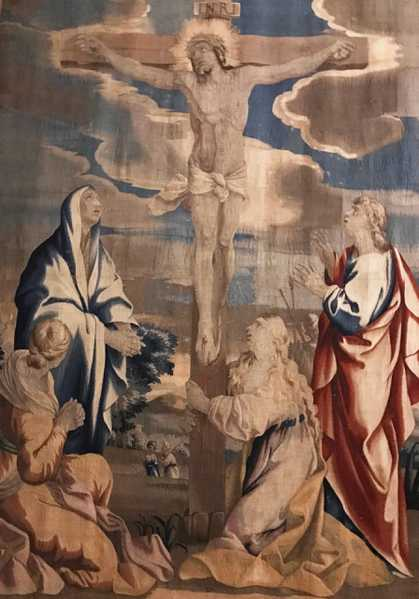 Barberini Tapestries: The Crucifixion, currently on display at The Cathedral of Saint John the Divine