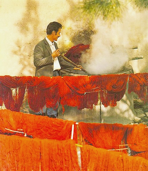 Carpet Dyes - A Weaver Dying Wool For Weaving A Rug by Nazmiyal