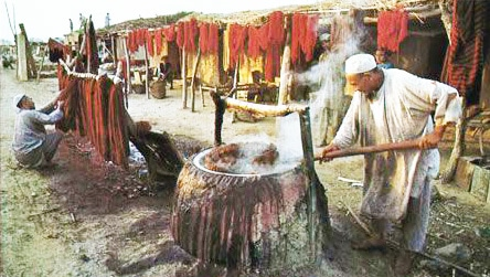 Dying Wool For Weaving Carpets by Nazmiyal