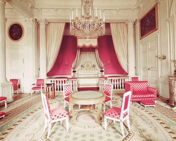 Aubusson Rugs in the Louis XVI bedroom interior at Versailles