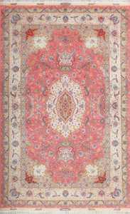 fine wool and silk design by khaljan vintage tabriz persian rug 51005 Nazmiyal