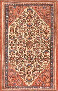 Mahi / Fish Design Antique Persian Bakshaish Rug 47228 by Nazmiyal