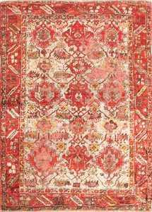shabby chic antique turkish angora oushak rug 48183 Nazmiyal