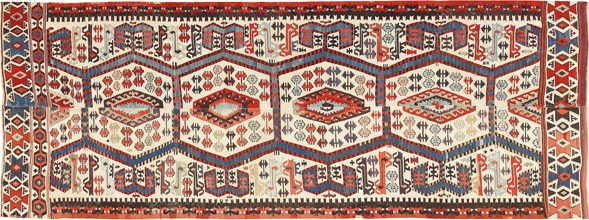 Tribal Antique 19th Century Turkish Kilim 48609