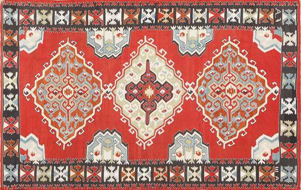 Vintage Tribal Turkish Kilim Rug, Nazmiyal