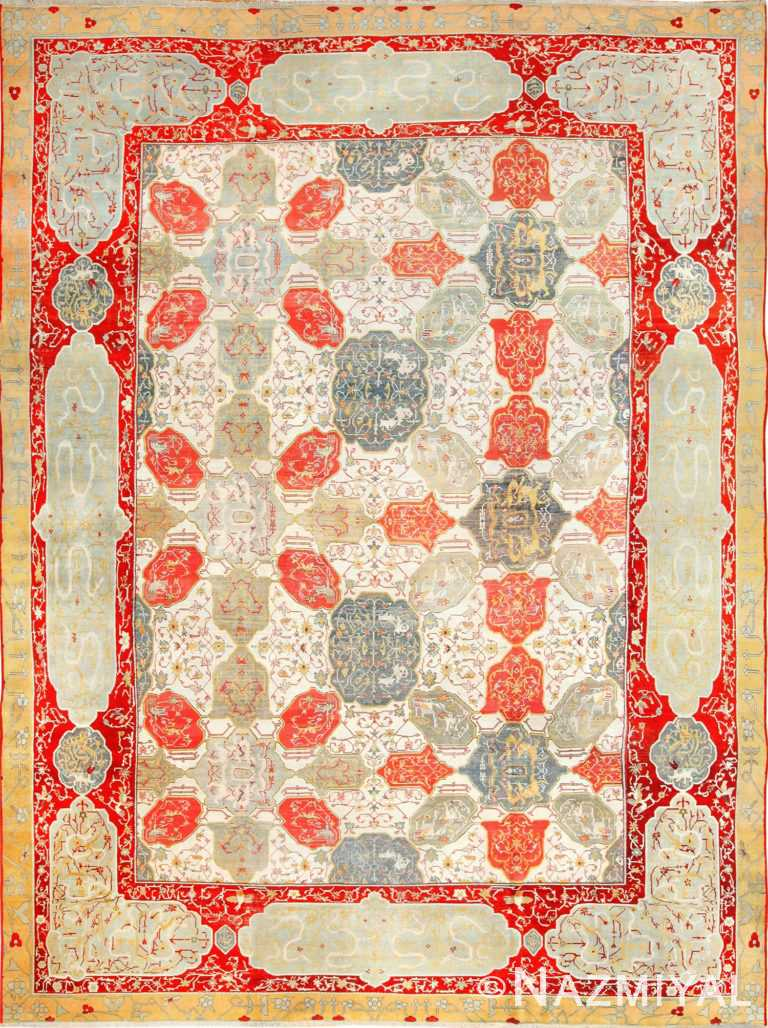 antique ivory room size indian agra rug 49176 Nazmiyal