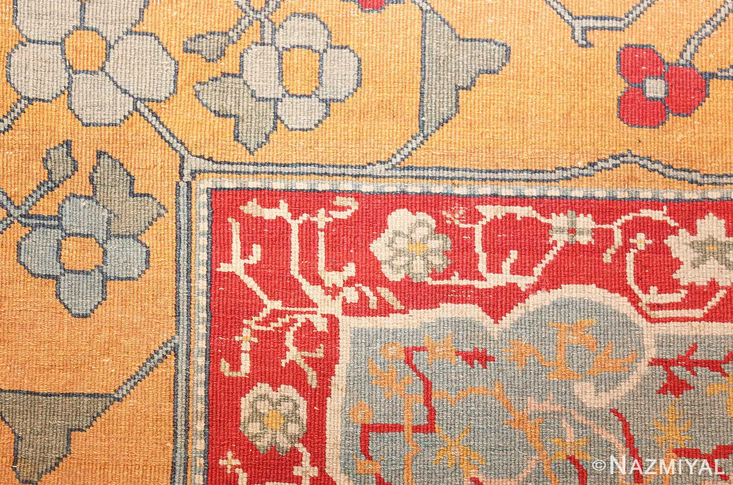 antique ivory room size indian agra rug 49176 weave Nazmiyal