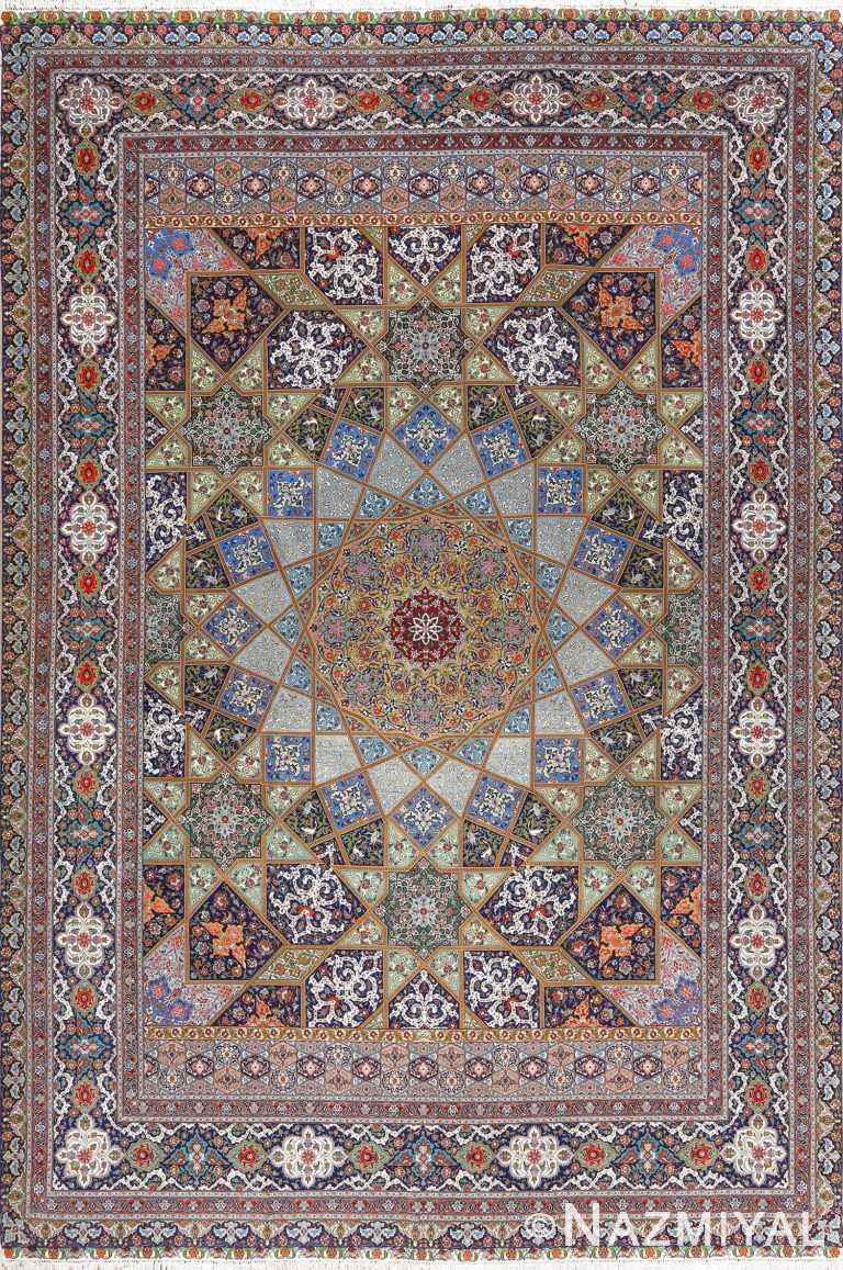 fine ghonbad kork and silk tabriz persian rug 51001 nazmiyal