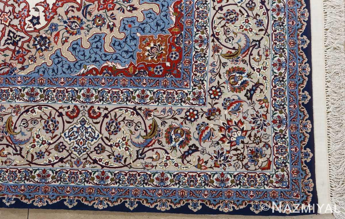fine hekmatenejad vintage isfahan persian rug 51019 corner Nazmiyal