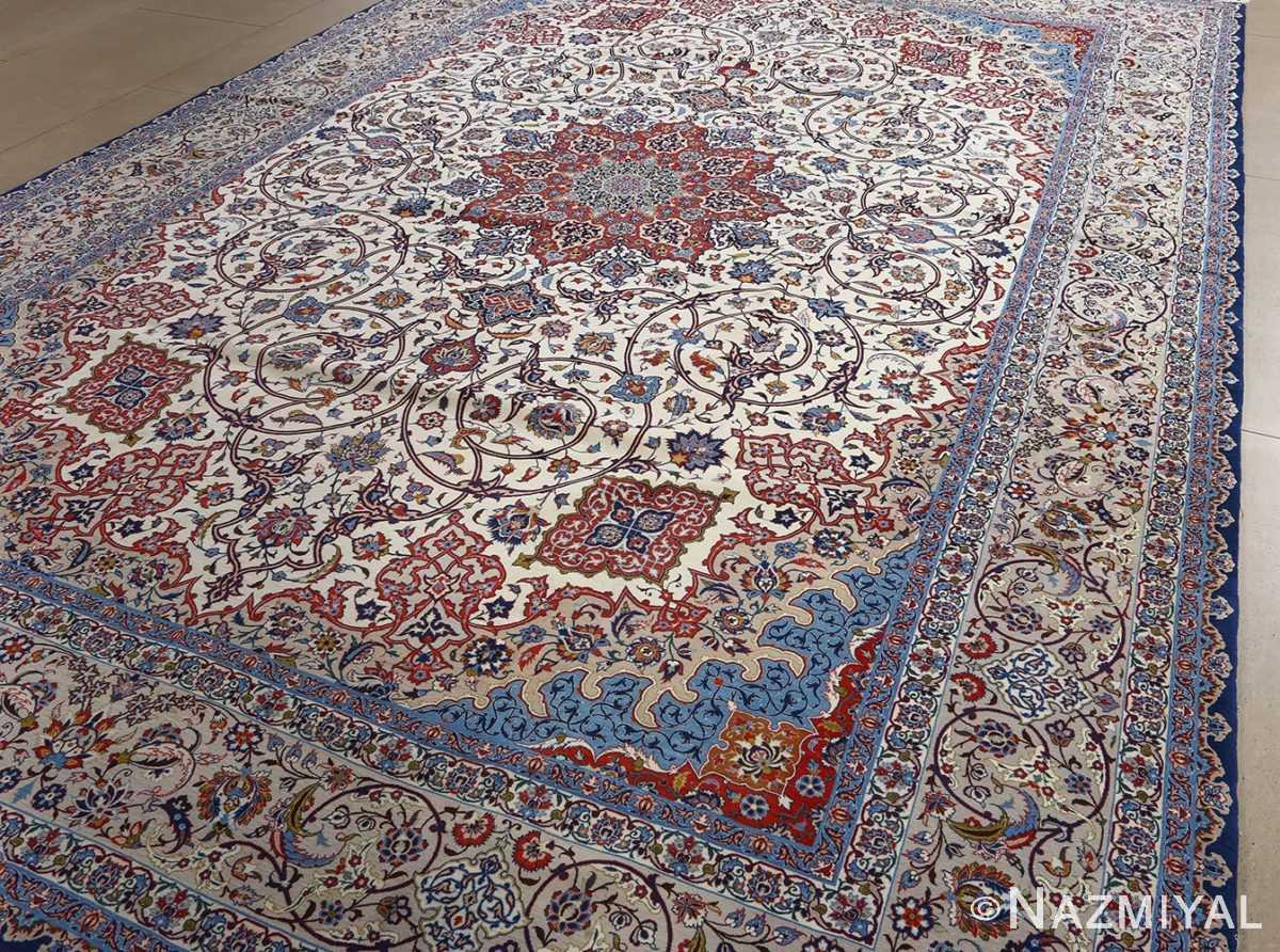fine hekmatenejad vintage isfahan persian rug 51019 field Nazmiyal