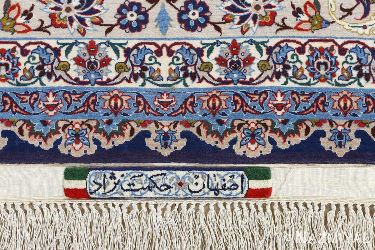 fine hekmatenejad vintage isfahan persian rug 51019 signature Nazmiyal