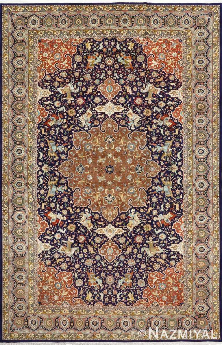 fine heydarzadeh hunting vintage tabriz persian rug 51026 Nazmiyal