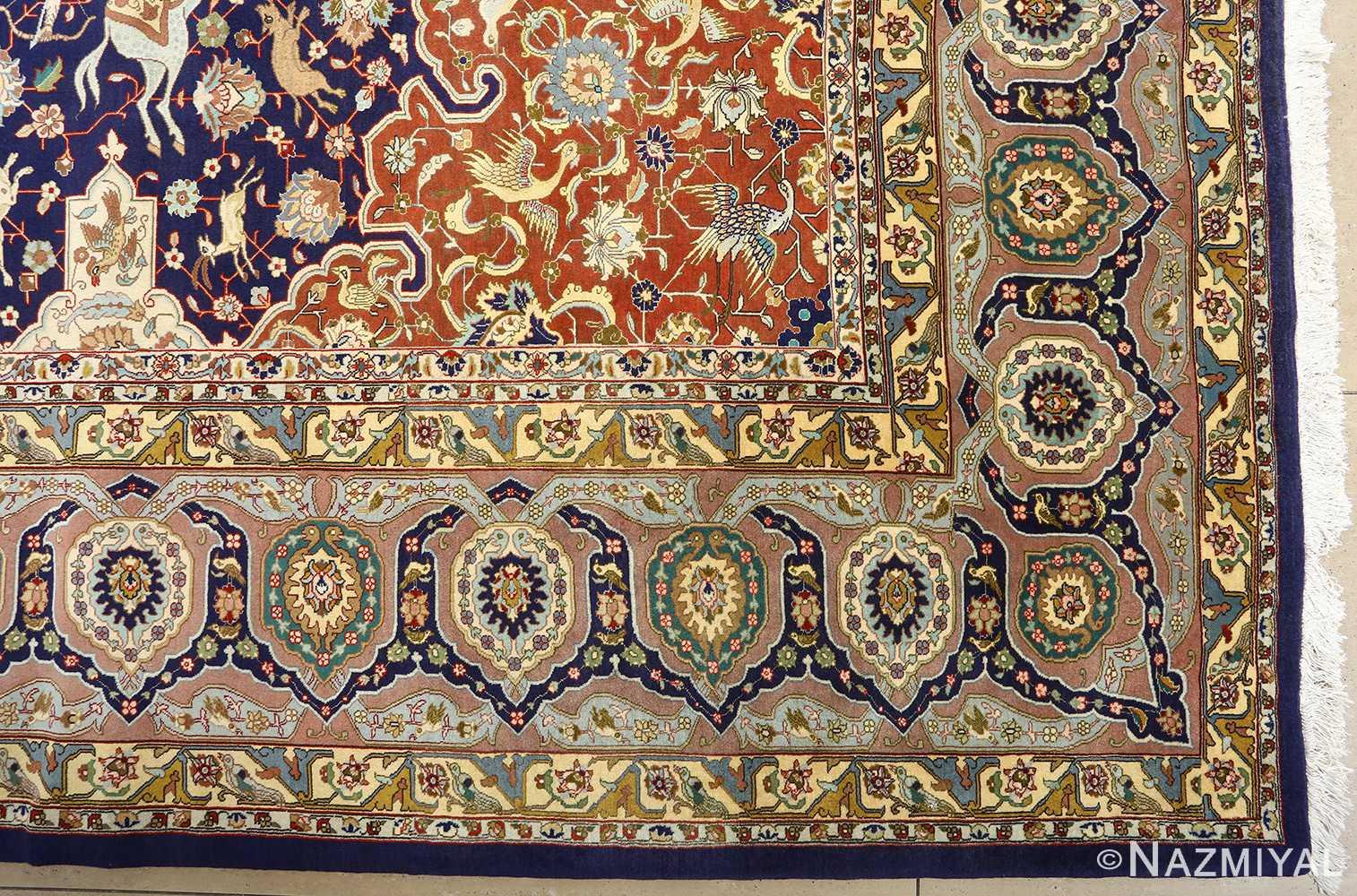 fine heydarzadeh hunting vintage tabriz persian rug 51026 nazmiyal corner
