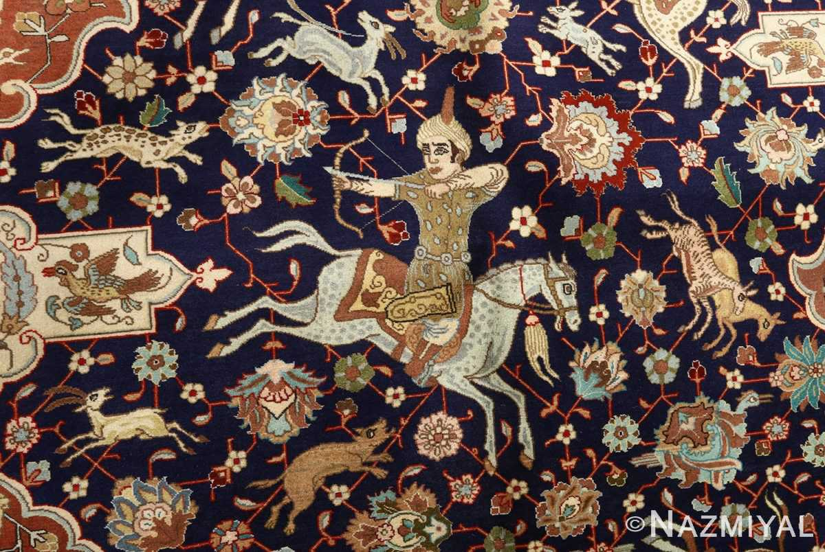 fine heydarzadeh hunting vintage tabriz persian rug 51026 nazmiyal horseman